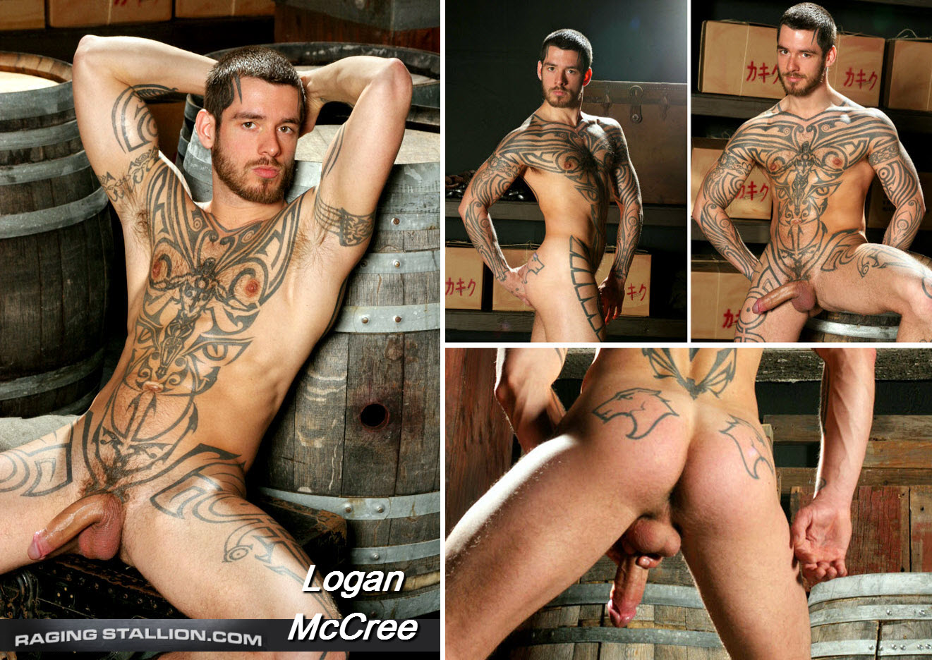 Vídeo Gay Online – Macho Tatuado: Punheta com Logan McCree