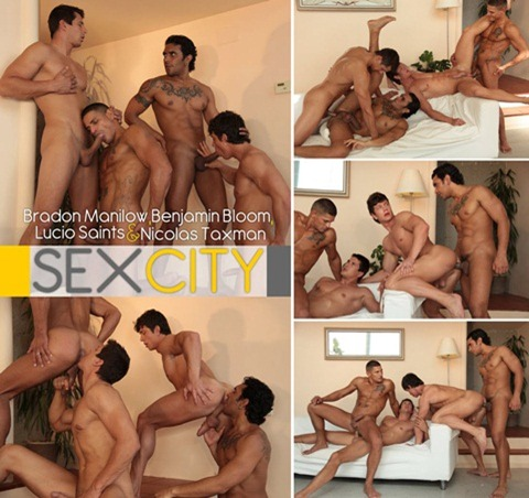 Vídeo Gay Online – Sexo Grupal Gay: Bradon Manilow, Benjamin Bloom, Lucio Saints & Nicolas Taxman