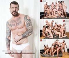 Vídeo Gay Online – Sexo Grupal Bareback: Rocco Steele's Breeding Party Grows To A Nine-Man Orgy