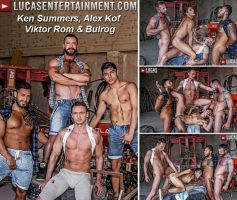 Vídeo Gay Download – Sexo Gay Bareback: Ken Summers, Alex Kof, Viktor Rom & Bulrog