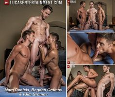 Vídeo Gay Download – Sexo Gay Bareback: Marq Daniels, Bogdan Gromov & Klim Gromov