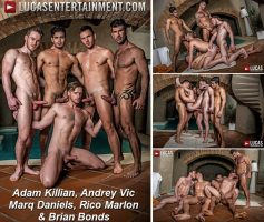 Vídeo Gay Online – Sexo Gay Bareback: Adam Killian, Andrey Vic, Marq Daniels, Rico Marlon & Brian Bonds
