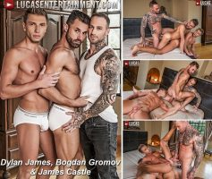 Vídeo Gay Online – Sexo Gay Bareback: Dylan James, Bogdan Gromov & James Castle