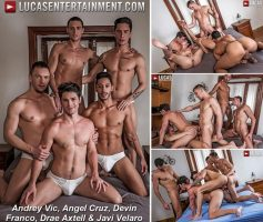 Vídeo Gay Download – Sexo Gay Bareback: Andrey Vic, Angel Cruz, Devin Franco, Drae Axtell & Javi Velaro