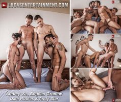 Vídeo Gay Online – Sexo Gay Bareback: Andrey Vic, Bogdan Gromov, Dani Robles & Andy Star