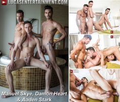 Vídeo Gay Download – Sexo Gay Bareback: Manuel Skye, Damon Heart & Aaden Stark