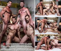 Vídeo Gay Download – Lucas Entertainment: Tryp Bates, Shawn Reeve, Nick Capra & Jackson Radiz